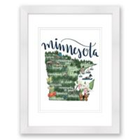 Minnesota Map 15-Inch x 18-Inch Framed Wall Art in White