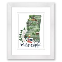 Mississippi 15-Inch x 18-Inch Framed Print Wall Art in White