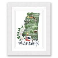 Mississippi 22.5-Inch x 27.5-Inch Framed Print Wall Art in White