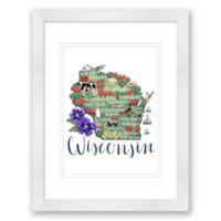 Wisconsin Map 15-Inch x 18-Inch Framed Wall Art in White