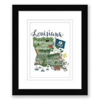 Louisiana Map 15-Inch x 18-Inch Framed Wall Art in Black