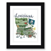 Louisiana Map 22.5-Inch x 27.5-Inch Framed Wall Art in Black