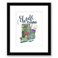 Rhode Island Map 15-Inch x 18-Inch Framed Wall Art in Black