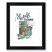 Rhode Island Map 22.5-Inch x 27.5-Inch Framed Wall Art in Black