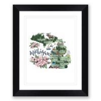 Michigan 22.5-Inch x 27.5-Inch Framed Print Wall Art in Black