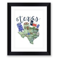Texas 15-Inch x 18-Inch Framed Print Wall Art in Black