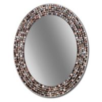 Head West 23-Inch x 29-Inch Frameless Copper Oval Mosaic Wall Mirror