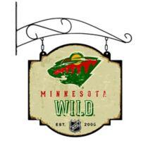 NHL Minnestoa Wild Vintage-Inspired Metal Pub Sign in Cream