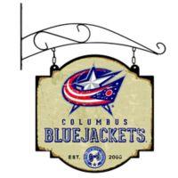 NHL Columbus Blue Jackets Vintage-Inspired Metal Pub Sign in Cream