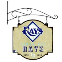 MLB Tampa Bay Rays Vintage-Inspired Metal Pub Sign in Cream