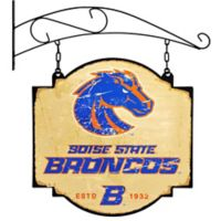 Boise State University Vintage-Inspired Metal Pub Sign in Cream