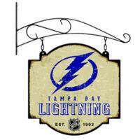 NHL Tampa Bay Lightning Vintage-Inspired Metal Pub Sign in Cream