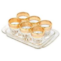 Lorren Home Trends Lorenzo Melania 7-Piece Shot Glass and Tray Set in Amber
