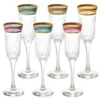 Lorren Home Trends Lorenzo Melania Multicolor Champagne Flutes (Set of 6)