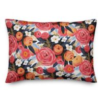 Designs Direct Sunset Floral Oblong Throw Pillow in Pink