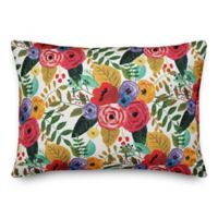 Designs Direct Bright Floral Oblong Throw Pillow in Pink
