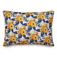 Designs Direct Bright Floral Oblong Throw Pillow in Yellow
