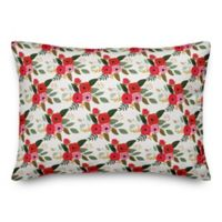 Designs Direct Floral Oblong Throw Pillow in Red