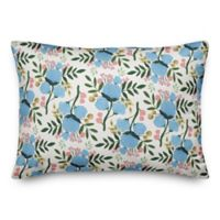 Designs Direct Floral Oblong Throw Pillow in Blue