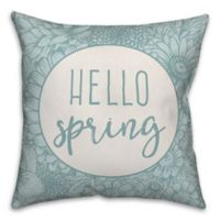 "Designs Direct ""Hello Spring"" Square Throw Pillow in Blue"