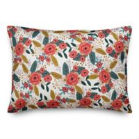 Designs Direct Blush Floral Oblong Throw Pillow in Pink
