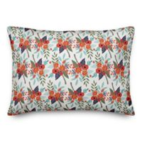 Designs Direct Floral Oblong Throw Pillow in Orange