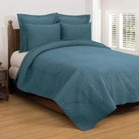 Regent Reversible King Quilt Set in Teal
