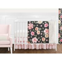 Sweet Jojo Designs Watercolor Floral 11-Piece Crib Bedding Set in Black/Pink