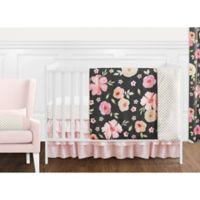 Sweet Jojo Designs® Watercolor Floral 11-Piece Crib Bedding Set in Black/Pink