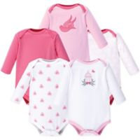 Hudson Baby® Size 0-3M 5-Pack Bird Cage Long-Sleeve Bodysuits in Pink