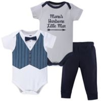 Hudson Baby® Size 0-3M 3-Piece Handsome Little Man Bodysuits and Pant Set in Blue