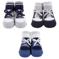 The Hudson Baby® Size 0-6M Blue Sneaker Sock 3-Piece Gift Set