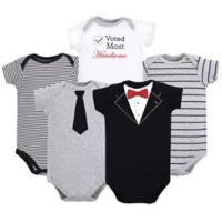 Little Treasure Size 18-24M 5-Pack Tuxedo Bodysuits in Black
