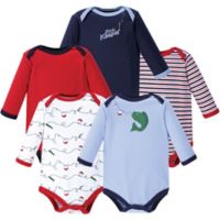 Luvable Friends® Size 9-12M 5-Pack Fish Long Sleeve Bodysuits in Red