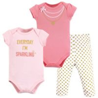 Little Treasure Size 0-3M 3-Piece Sparkling Bodysuits and Pant Set in Pink