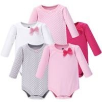 Hudson Baby® Size 0-3M 5-Pack Bow and Dots Long Sleeve Bodysuits in Pink