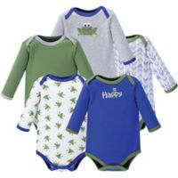 Luvable Friends® Size 6-9M 5-Pack Frog Long Sleeve Bodysuits in Green