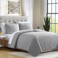 Ardmore Solid Lattice Full/Queen Quilt Set in Grey