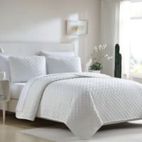 Ardmore Solid Lattice Twin Quilt Set in White