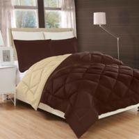 Luxury All Season Reversible 3-Piece King Comforter Set in Chocolate/Cream
