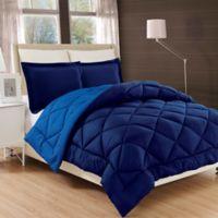 Luxury All Season Reversible 3-Piece Full/Queen Comforter Set in Navy/Aqua