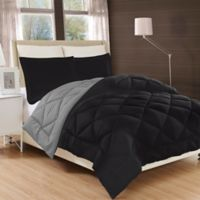 Luxury All Season Reversible 3-Piece King Comforter Set in Black/Grey