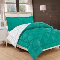 Luxury All Season Reversible 2-Piece Twin/Twin XL Comforter Set in Turquoise/white