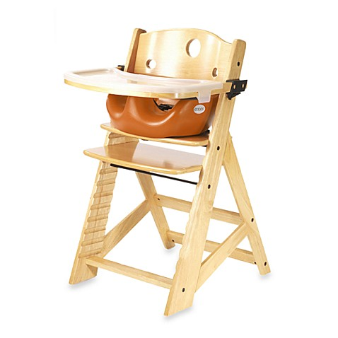 Keekaroo® Height Right High Chair Natural with Pumpkin Infant Insert and Tray