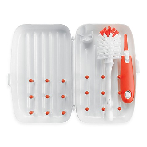 OXO Tot® On-the-Go Drying Rack with Bottle Brush in Orange