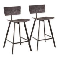 """Lumisource® Rocco 25"""" Bar Stools in Black (Set of 2)"""