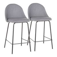 "Lumisource® Polyester Upholstered Lana 25"" Bar Stools in Grey (Set of 2)"