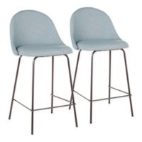 "Lumisource® Polyester Upholstered Lana 25"" Bar Stools in Green (Set of 2)"