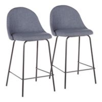 "Lumisource® Polyester Upholstered Lana 25"" Bar Stools in Blue (Set of 2)"