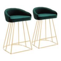 "Lumisource® Velvet Upholstered Canary 25.5"" Bar Stools in Green (Set of 2)"